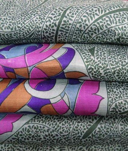 Vintage Art di seta riciclato tessuto sari paisley stampato sipario drappo tessuto artigianale decorazioni per la casa grigia 5YD indiano sari delle donne wrap dress