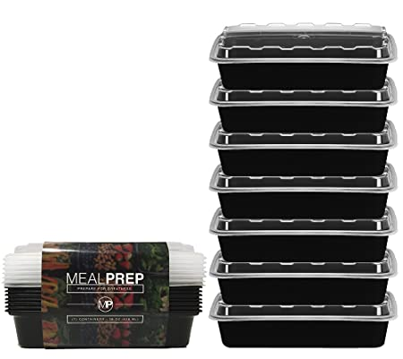 Meal Prep Containers - Stackable Plastic Microwavable Dishwasher Safe Reusable