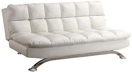Furniture of America Ethel Leatherette Convertible Sofa, White