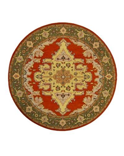 Chandra Pooja Rug, Red/Green, 7′ 9″ Round