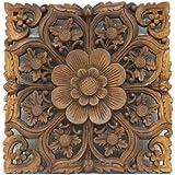 MANJA WOO-0425-C バリ雑貨 モンキーポッド レリーフ (縦横30cm) 【 欄間 ウォールデコレーション 木製彫刻 アジアン雑貨 】