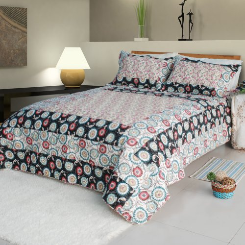 [Alice and Flower] Cotton 3PC Floral Vermicelli-Quilted Patchwork Quilt Set (Full/Queen Size)
