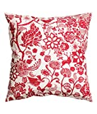 "Floral Design Accent Decorative 100% Cotton Canvas Throw Pillow Cover Cushion 20 X 20"" Reversible Floral Lace Birds Red and White"