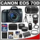 Canon EOS 70D Digital SLR Camera & EF-S 18-135mm IS STM Lens with 55-250mm IS Lens + 32GB Card + Battery + Case + Filters + Tripod + Flash + Tele/Wide Lenses + Kit