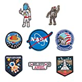 Space Fans Patches Tactical NASA Astronaut Shuttle Decorative Applique Repair Patches Embroidered Morale Lot Military Iron/Sew on Patches(8 Pieces) (Color: color3)