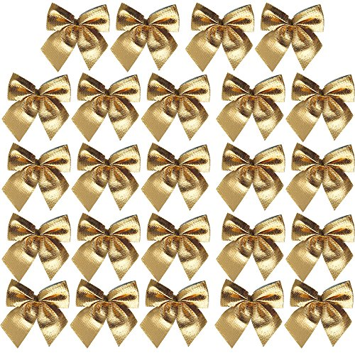 Bluecookies 24PCS Christmas Glitter Ribbon Bows Bowkont Christmas Ornaments Xmas Tree Decorations Gold