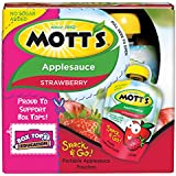 Mott's Snack & Go Strawberry Applesauce, 3.2 oz pouches (Pack of 24)