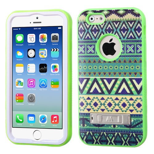 Phonetatoos (Tm) For Iphone 6 (4.7-Inch) Forest Tribe/Electric Green Verge Hybrid Protector Cover (With Stand) - Lifetime Warranty