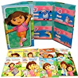 Nickelodeon Dora the Explorer Friends Story Pack Fold-out Folder with 8 Mini Books Set Collection (Birthday Adventure, Dora's Book of Manners, Dora and her teddy bear, Super babies, Meet diego, I love my abuela, Happy Mother's day, Big Suster dora)