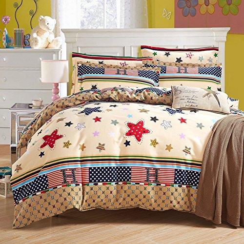 HlA Set di Set di quattro pezzi di biancheria da letto Il cotone quattro pezzi letto doppio foglio Copripiumino Biancheria da letto Set di quattro addensato , le stelle (6 Content ,1,8 ft) Letto
