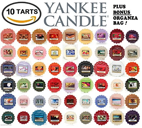 Yankee Candle Wax Tarts - Grab Bag of 10 Assorted Yankee Candle Wax Melts - Random Mixed Scents with BONUS yellow organza bag (Wax Melt Candle Warmer compare prices)
