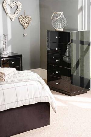 MY-Furniture - Cómoda alta de vidrio negro con 5 cajones y zócalo - Gama Chelsea