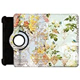 Grunged Florals on Blue Rotate Flip Folio Case for iPad 2 3 4 Mini, Kindle Fire, & Samsung Galaxy Note - Kindle Fire HD 7in (1st Gen) Rotary Cover