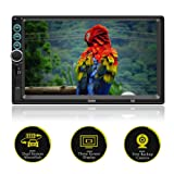 Double Din 7 Inch Touch Screen Car Stereo with Bluetooth MirrorLink USB/SD/AUX/FM Radio with Backup Camera Steering Wheel Remote Control (Color: SWM-S6)