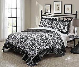 3 Piece Queen Donato Black/White Quilt Set