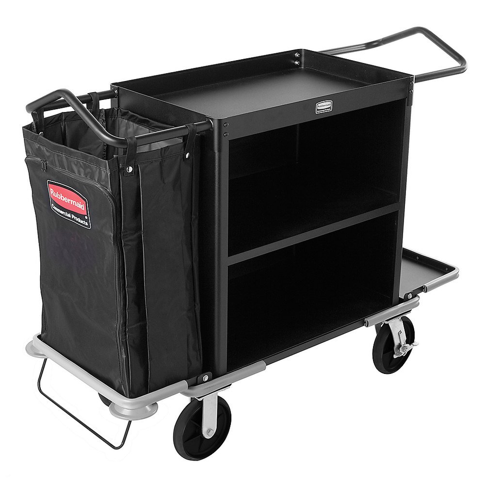Rubbermaid Commercial FG9T6300BLA Executive Series Deluxe 3-Shelf High-Capacity Housekeeping Cart, Black whole sales high qualtiy portable commercial ozone generator