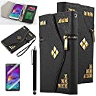 Note 4 Case,ULAK Note 4 Wallet Case PU Leather Galaxy Note 4 Flip Cover with Foldable Card Slots for ID.Credit Cards - Fashion Metal Zipper Studded Purse Design Flip Case for Samsung Galaxy Note 4-Black