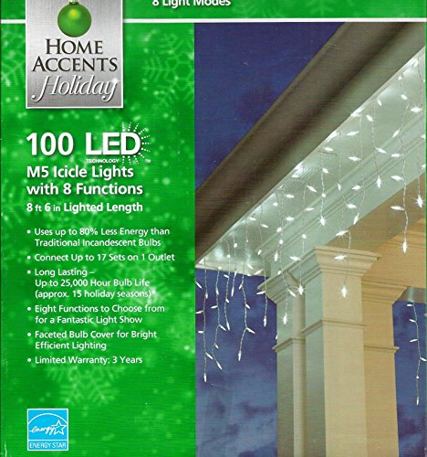 100 Count Led Cool White M5 Icicle Lights - 8 Lighting Functions