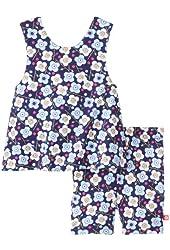 Zutano Baby Girls' Blaue Blumen Sunshine Top and Bike Short Set