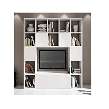 Libreria con porta TV moderno e 7 porte color bianco frassinato