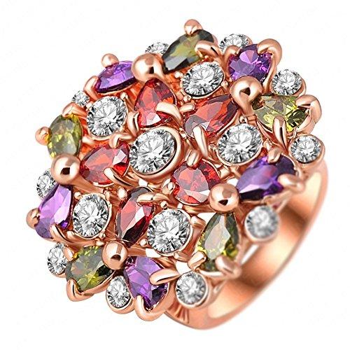 """RI06002C1-10 """"Hundred Flowers"""" Austrian Crystal 18K Ring"""