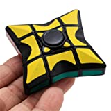 Magic Cube Finger Toy, AMA(TM) Smooth and Speed 1x3x3 Rubiks Cube Puzzle Spinner Focus EDC Toys for Adults and Kids (Yellow) (Color: Yellow, Tamaño: 5.5x5.5x2cm)