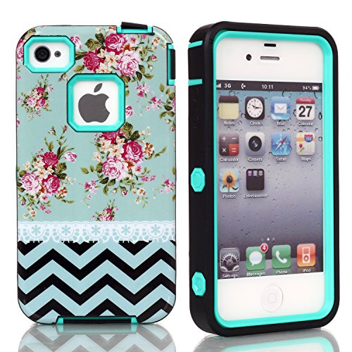 5C Case, Iphone 5C Case, New, Magicsky Iphone 5C Cover With Blue Flower Wave Pattern Full Body Hybrid Impact Shockproof Defender Case Cover For Iphone 5C, 1 Pack(Rose Flower/Cyan)