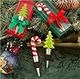 Happy Holidays Collection Bottle Stoppers (2 Piece) Christmas Tree and Candy Cane