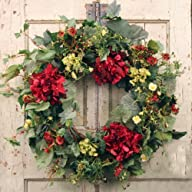 Decorative Burgundy Silk Seasonal Front Door Wreath 22 in – Best Seller – Handcrafted Wreath for…