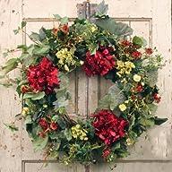 Decorative Burgundy Silk Seasonal Front Door Wreath 22 in – Best Seller – Handcrafted Wreath for…