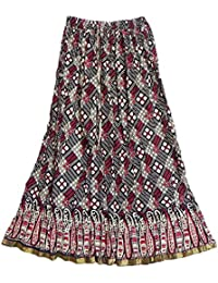DollsofIndia Maroon And Black Print On Off-White Crushed Cotton Skirt - Cotton - Red, Black