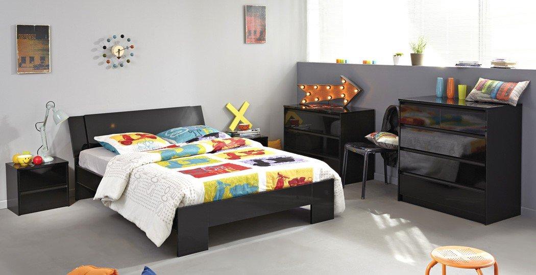 Schlafzimmer Orell 11 schwarz Hochglanz Bett 140×200 2x Schubkastenkommode 2x Nachttisch Jugendzimmer Kommode Nachtkommode Nako