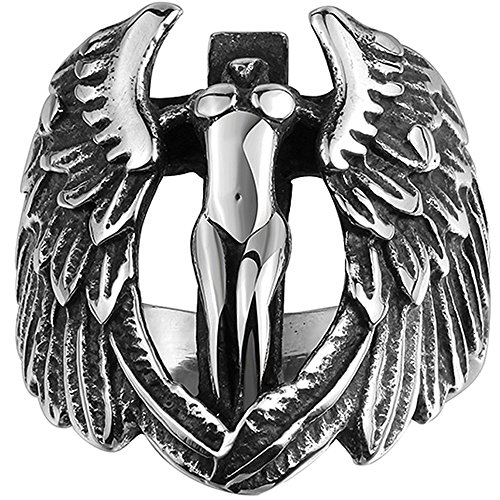 Men's 316L Stainless Steel Large Cross Angel Wing Unisex Ring Band Vintage Gothic Punk Biker Silver Black Size 8