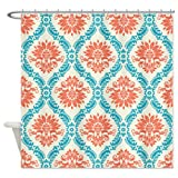 CafePress tangerine and aqua damask Shower Curtain - Standard White