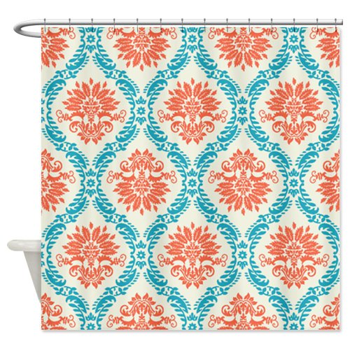 tangerine and aqua damask Shower Curtain
