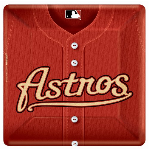 Houston Astro Baseball - Square Banquet Dinner Plates Party Accessory