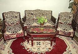 Amitas Home Furnishing Set of 6 Black & Golden Color Floral Design Color Sofa Cover