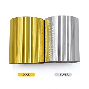 Hot Foil Stamping Paper 1 Roll Gold + 1 Roll Silver 3 x 400ft PU Heat Transfer Anodized Gilded Paper for Hot Foil Stamping Machine (3 inch, Gold+Silver) (Color: Gold+Silver, Tamaño: 3 inch)