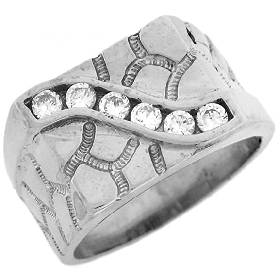 9ct Solid White Gold Nugget CZ High Polished Mens Ring