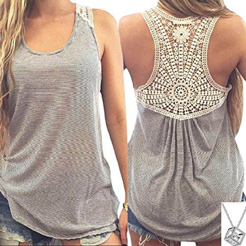 Lookatool Women Summer Lace Vest Top Short Sleeve Blouse Tank Tops T-Shirt (XL, Gray) Clothing