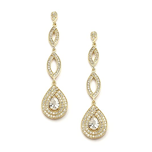 Mariell Dramatic Micro-Pave CZ Dangle Bridal Wedding Earrings with Genuine 14K Gold Plating