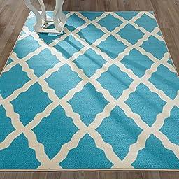 Ottomanson Glamour Collection Contemporary Moroccan Trellis Design Kids Lattice Area (Non-Slip) Kitchen and Bathroom Mat Rug, Blue, 5\'0\