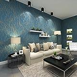 現代のミニマリストカーブ木パターン不織布壁紙ロールブルー&グレー色0.53m*10m=5.3㎡ [並行輸入品]