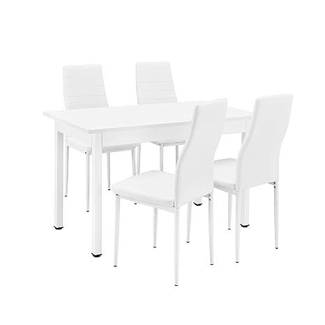 [en.casa] Esstisch / Kuchentisch / Esszimmertisch (120x60cm) mit 4 Stuhlen weiß gepolstert - Sitzgruppe im Sparpaket
