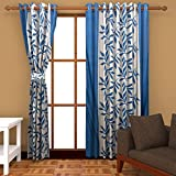 Freehomestyle Floral Window Curtains- Aqua (Set Of 4)