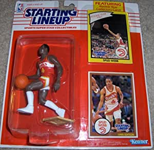Starting Lineup Sports Super Star Collectible Figure with Rookie Card - Atlanta Hawks Spud Webb1990 Edition -