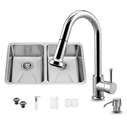 VIGO 29 inch Undermount 50/50 Double Bowl 16 Gauge Stainless Steel Kitchen Sink with Harrison Chrome Faucet, Two Grids, Two Strainers and Soap Dispenser