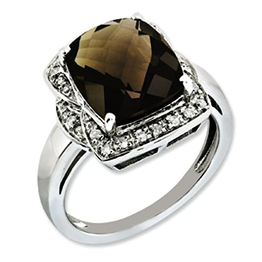 Sterling Silver Rough Diamond and Smokey Quartz Ring - Size N 1/2 - JewelryWeb