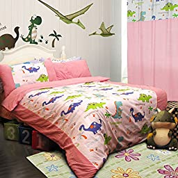 MeMoreCool Home Textile Cute Cartoon Dinosaur Design Environmental Reactive Printing 100% Cotton Pink 3 Pieces Bedding Set Comfortable Quilt Covers for Boys and Girls Soft Bed Sheets Twin Size