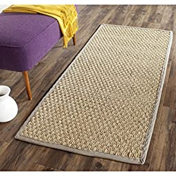 Safavieh Natural Fiber Collection NF114P Natural and Grey Seagrass Runner, 2 feet 6 inches by 6 feet (2\'6\